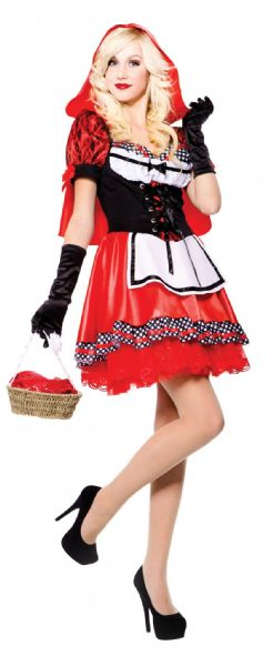Adults Red Riding Hood Costume Fairytale Nursery Rhyme Fancy Dress Outfit
